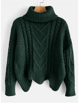 Chunky Knit Turtleneck Sweater   Dark Forest Green by Zaful