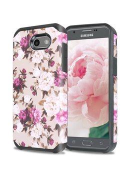 Samsung Galaxy J7 Sky Pro / Galaxy J7 Perx / Galaxy J7 V / Galaxy J7 (2017) Case, Hybrid Shockproof Impact Case Cover   Romantic Pink White Roses Floral by Digizone