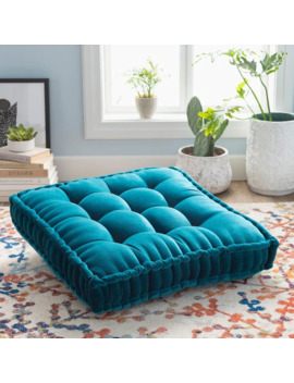 The Curated Nomad Atlanta 30 Inch Teal Square Tufted Velvet Floor Pillow by The Curated Nomad