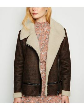 Rust Leather Look Aviator Jacket by New Look