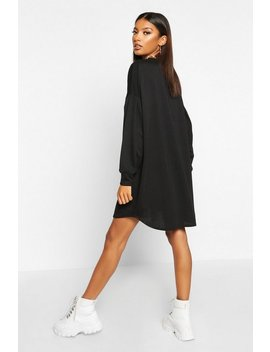 Gathered Drop Shoulder Sweat Dress by Boohoo