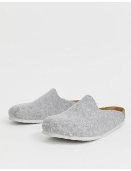 Birkenstock Amsterdam Felt Mule Slippers In Grey by Birkenstock