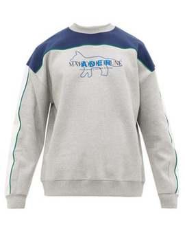 Logo Embroidered Cotton Blend Sweatshirt by Ader Error X Maison Kitsuné