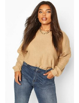 Plus Boxy Scoop Neck Jumper by Boohoo