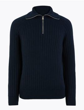 Supima® Cotton Textured Funnel Neck Jumper by Marks & Spencer