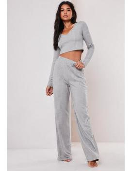 Grey Rib Mix And Match Wide Leg Loungewear Bottoms by Missguided
