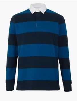 Pure Cotton Striped Rugby Shirt by Marks & Spencer