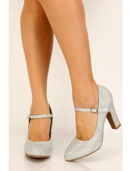 Silver Shimmery Mesh Chunky Heels by Ami Clubwear