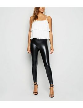 Cameo Rose Black Coated Wet Look Leggings by New Look