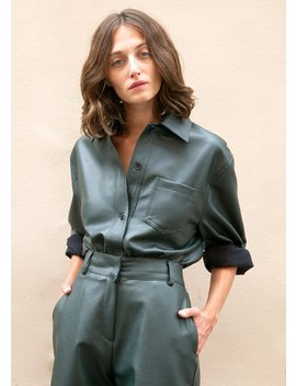 Sacramento Green Faux Leather Shirt by The Frankie Shop