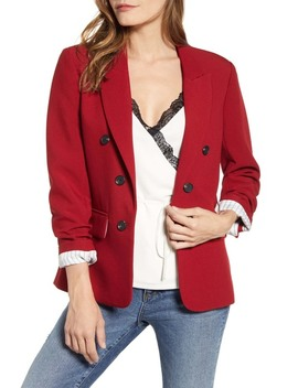 Ruched Sleeve Stretch Crepe Blazer by 1.State