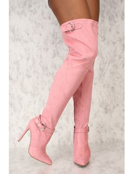 Sexy Dusty Pink Buckle Pointy Toe Thigh High Boots Faux Suede by Ami Clubwear