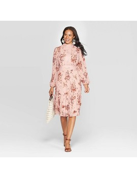Women's Floral Print Long Sleeve Sheer High Neck Midi Dress   Xhilaration™ Rose by Xhilaration