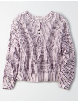 Ae Acid Wash Henley Sweater by American Eagle Outfitters