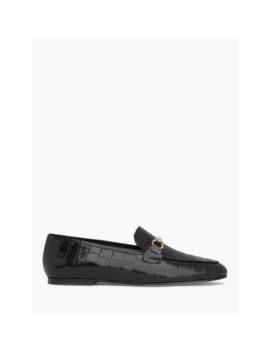 L.K.Bennett Marina Croc Leather Loafers, Black by L.K.Bennett