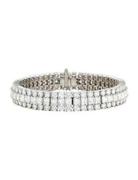 Platinum 29.97ctw Diamond Three Row Bracelet by Bracelet