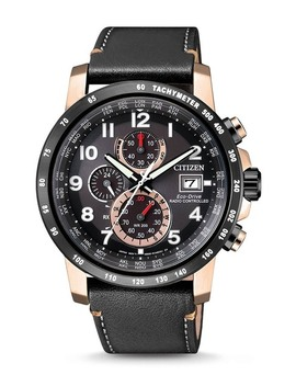 Men's Eco Drive Global Radio Controlled Chronograph Black Leather Two Tone Watch, 43.1mm by Citizen