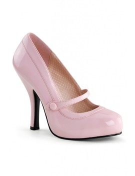 Baby Pink Leather Strapped High Heels Patent Faux Leather by Ami Clubwear