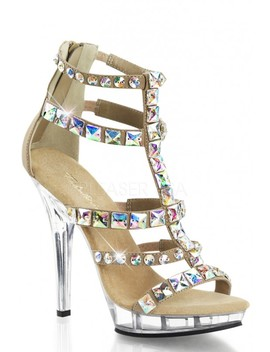 Taupe Jeweled T Strappy High Heels Matte Nubuck by Ami Clubwear
