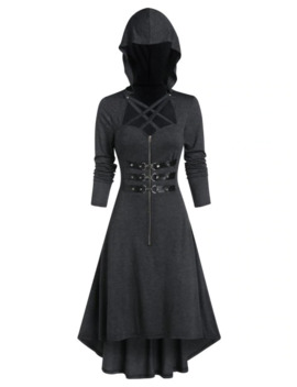 Hooded Lobster Buckle Strap High Low Gothic Dress by Dress Lily