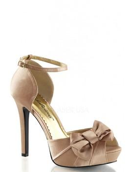 Blush Bow Accent Peep Toe High Heels Satin by Ami Clubwear