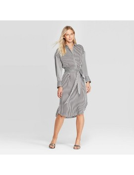 Women's Long Sleeve Collared Front Button Down A Line Midi Dress   Who What Wear™ by Who What Wear