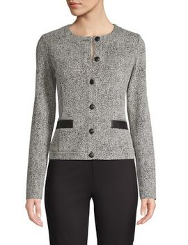 Button Front Tweed Jacket by Karl Lagerfeld Paris