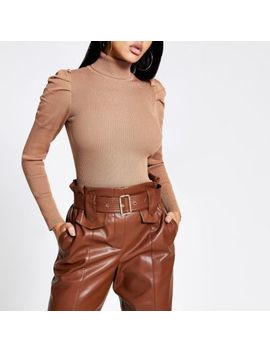 Brown Pull Sleeve Roll Neck Knitted Jumper by River Island
