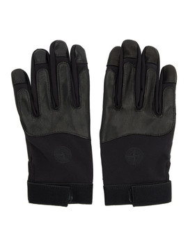 Black Logo Gloves by Stone Island