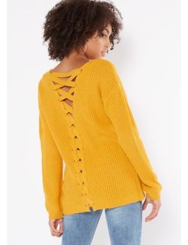Mustard V Neck Lace Up Back Sweater by Rue21
