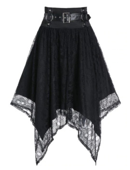 Halloween Skull Pattern Lace Harness Insert Handkerchief Gothic Skirt by Dress Lily