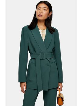 Green Belted Double Breasted Blazer by Topshop