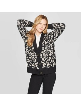 Women's Long Sleeve V Neck Cardigan   Universal Thread™ Black by Universal Thread
