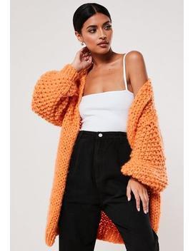 Premium Orange Chunky Knit Cardigan by Missguided