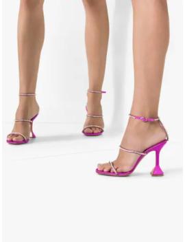 Pink Gilda 95 Satin Strap Sandals by Amina Muaddi