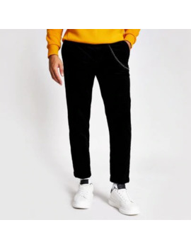 Black Chain Tapered Cord Trousers by River Island