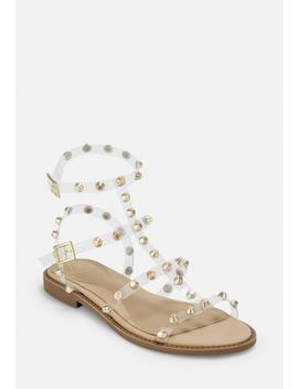 Gold Look Clear Dome Stud Gladiator Sandals by Missguided