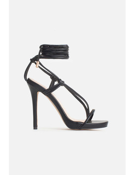 Jamilla Lace Up Stiletto Heels In Black Vegan Leather by Luxe To Kill