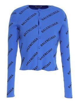Cropped Printed Ribbed Knit Cardigan by Balenciaga