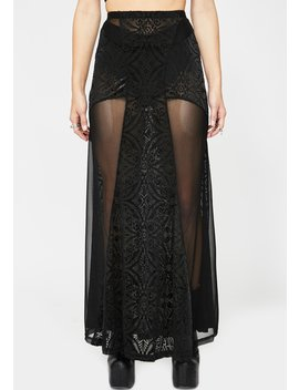 Sheer Paneled Maxi Skirt by Devil Fashion