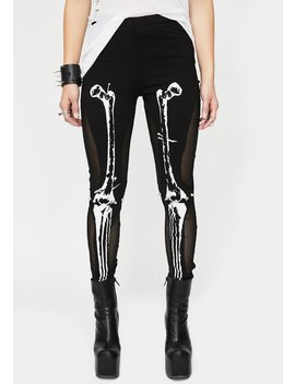 Skeleton High Waist Leggings by Devil Fashion