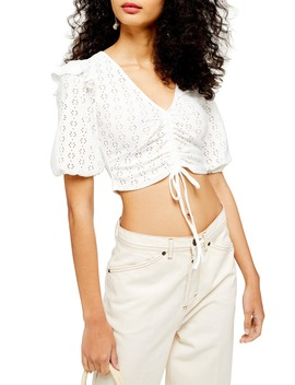 Pointelle Ruched Crop Top by Topshop