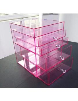 Limited Custom Premium Large Pink Acrylic Makeup Organizer With Crystal Knob by Etsy