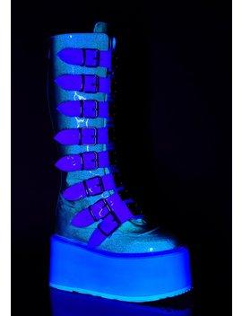 Uv Glitter Morpheus Platform Boots by Demonia