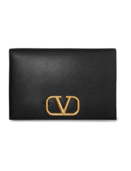 Valentino Garavani Go Logo Textured Leather Pouch by Valentino