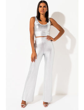 Turn Up The Lights Metallic Wide Leg Pants by Akira