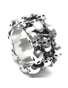 Nice Ring Round Skulls 💀 Design Rock Street Wear Design by Silver  ×  Sterling Silver  ×  925 Silver  ×