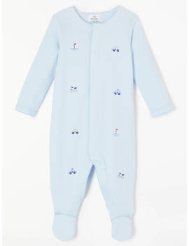 John Lewis & Partners Baby Gots Organic Cotton Jersey Sleepsuit, Blue by John Lewis & Partners