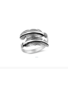 Sz.8 Solid Silver Feather Ring by Silver  ×  Sterling Silver  ×  Jewelry  ×