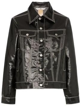 Buck High Shine Contrast Stitch Denim Jacket In Black by Eytys